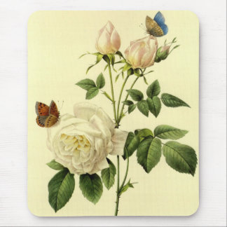 Redoute Print Bengal Rose Hymanee Mouse Pads