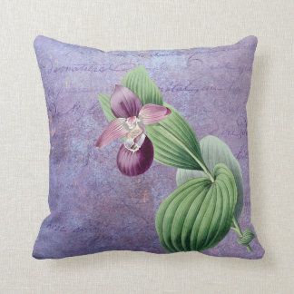 Redouté Purple Orchid On Vintage Overlay Cushion