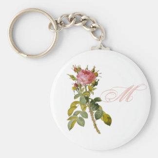Redoute Rose Custom Monogram Initial Key Ring