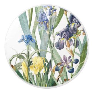 Redoutes Iris Flowers Floral Botanical Ceramic Knob