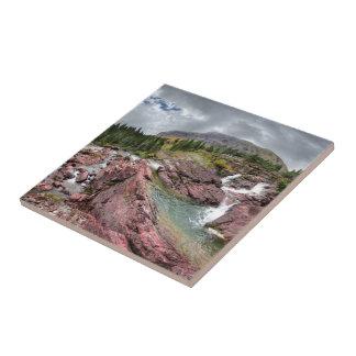 Redrock Falls - Glacier National Park Tile