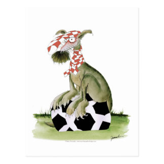 reds soccer dog happy supporter postcard