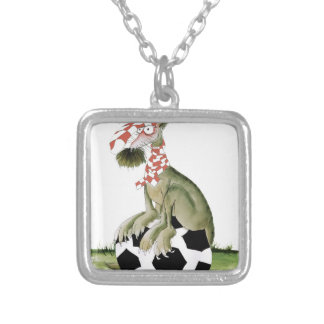 reds soccer dog happy supporter silver plated necklace
