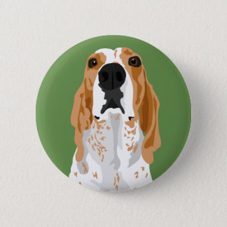 Redtick coonhound head  button