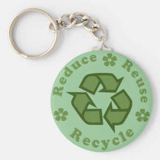 Reduce Reuse Recycle Basic Round Button Key Ring