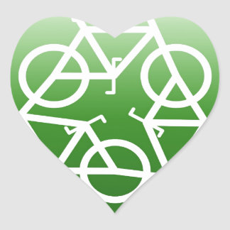 Reduce Reuse Recycle Green Bicycle Heart Sticker
