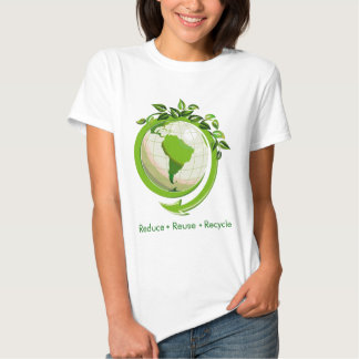 """""""reduce reuse recycle"""" green earth shirt"""
