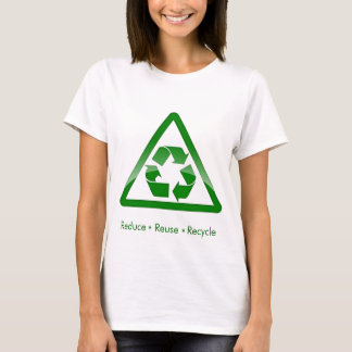 """reduce reuse recycle"" green symbol shirt"