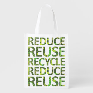 Reduce Reuse Recycle Green Tree Grocery Bag