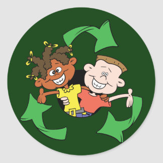 Reduce Reuse Recycle Kids Classic Round Sticker