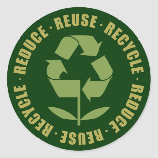 Reduce Reuse Recycle [logo] Classic Round Sticker