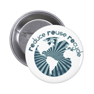 Reduce Reuse Recycle Planet Earth's Resources 6 Cm Round Badge