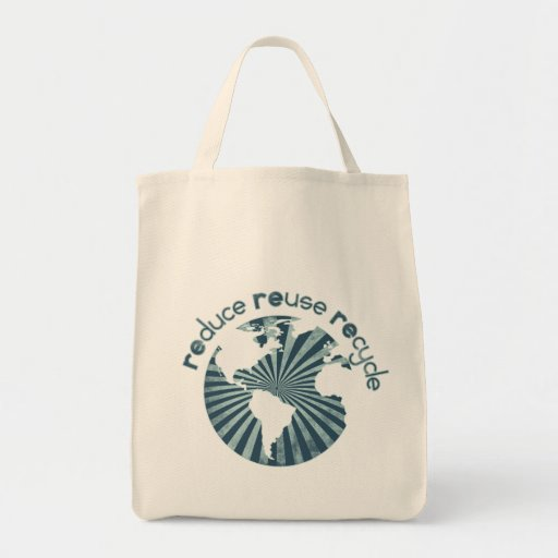 Reduce Reuse Recycle Planet Earth's Resources Grocery Tote Bag
