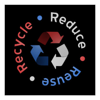 Reduce, Reuse, Recycle Poster (RWB)