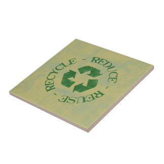 Reduce Reuse Recycle Small Square Tile