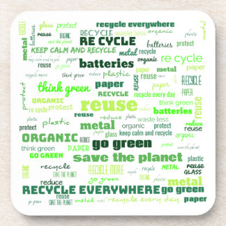 Reduce, Reuse, Recycle Word Cloud Coaster