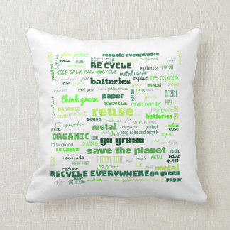 Reduce, Reuse, Recycle Word Cloud Cushion