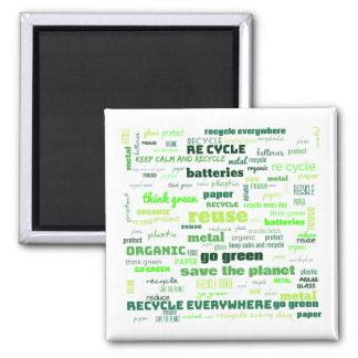 Reduce, Reuse, Recycle Word Cloud Magnet