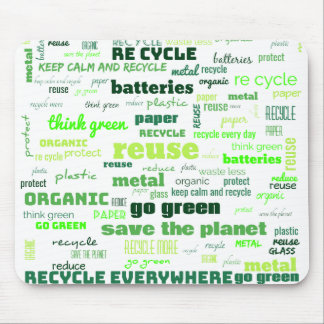 Reduce, Reuse, Recycle Word Cloud Mouse Pad