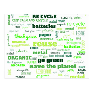 Reduce, Reuse, Recycle Word Cloud Postcard