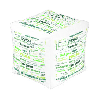 Reduce, Reuse, Recycle Word Cloud Pouf