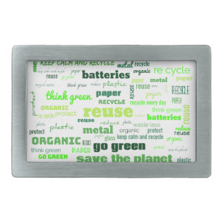 Reduce, Reuse, Recycle Word Cloud Rectangular Belt Buckle