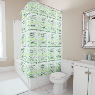 Reduce, Reuse, Recycle Word Cloud Shower Curtain