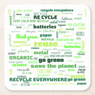 Reduce, Reuse, Recycle Word Cloud Square Paper Coaster