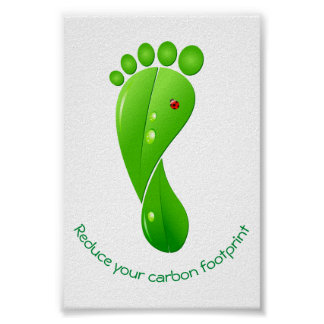 Reduce your carbon footprint green ecological poster