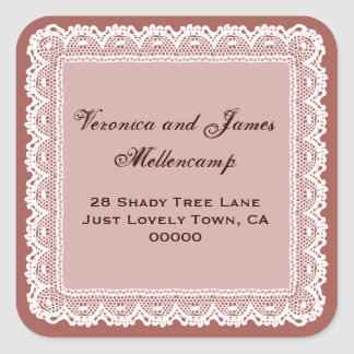 Redwood and White Lacy Address Labels Sticker