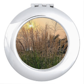 Reed At Sunset Compact Mirror