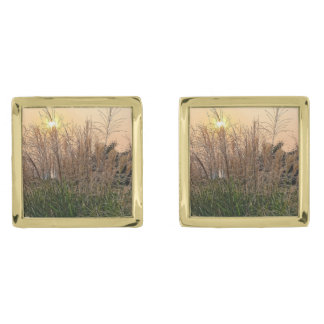 Reed At Sunset Gold Finish Cufflinks