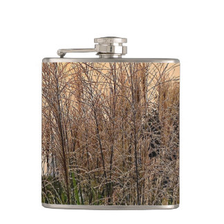 Reed At Sunset Hip Flask