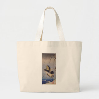 Reeds in the Snow with a Wild Duck by Hiroshige Jumbo Tote Bag