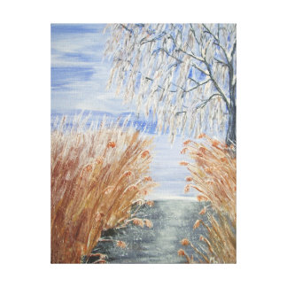 Reeds On The Riverbank No.1 From Watercolour Canvas Print