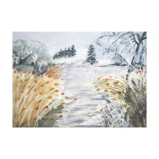 Reeds On The Riverbank No.2 From Watercolour Canvas Print