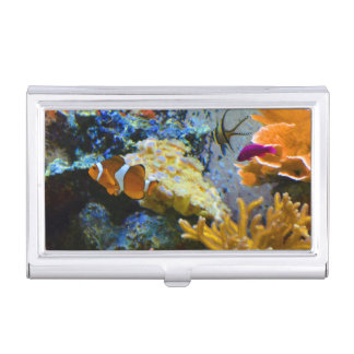 reef fish coral ocean business card case