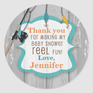 Reel Excited Fishing Thank You Baby Shower Tags Round Sticker