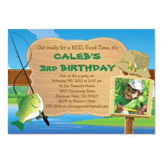 """Reel Good Time - Fishing Themed Party Invitation 5"""" X 7"""" Invitation Card"""