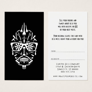 refer a friend barber punk calavera business card