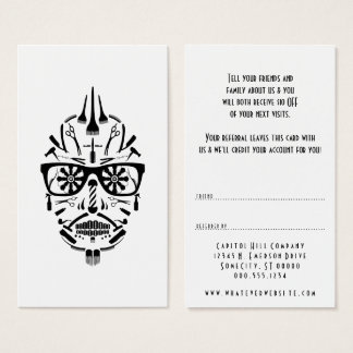 refer a friend barber sugar skull business card