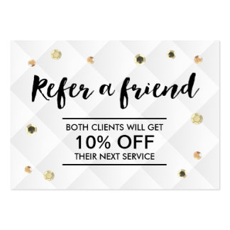 Refer a Friend Modern Gold Sequins Promotional Pack Of Chubby Business Cards