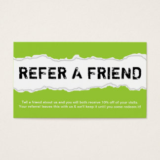 refer a friend page rip (color customizable) business card