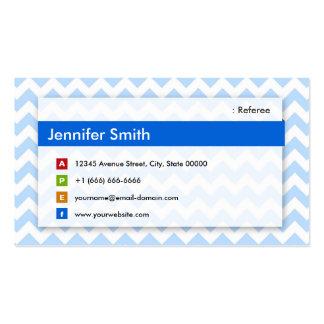 Referee - Modern Blue Chevron Business Card Templates