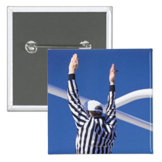 Referee signaling touchdown or successful field 15 cm square badge