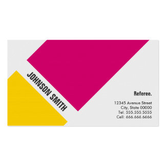 Referee - Simple Pink Yellow Business Card Template