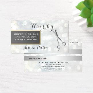 Referral card chic bokeh silver scissors