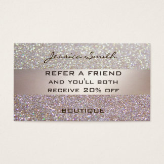 Referral card glamourous faux chic glittery