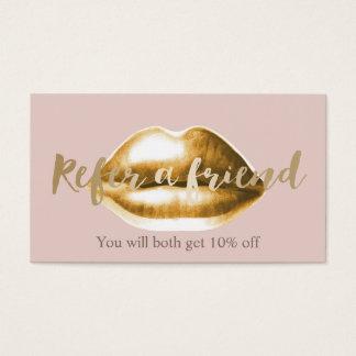 Referral Card   Gold Lips Blush Pink Girly Salon