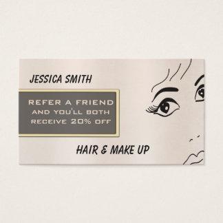 Referral card luxury brihgt rose girl face